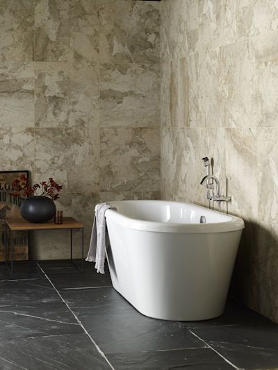 Urban Honed Limestone Wall Tiles Combined With Black Riven Slate