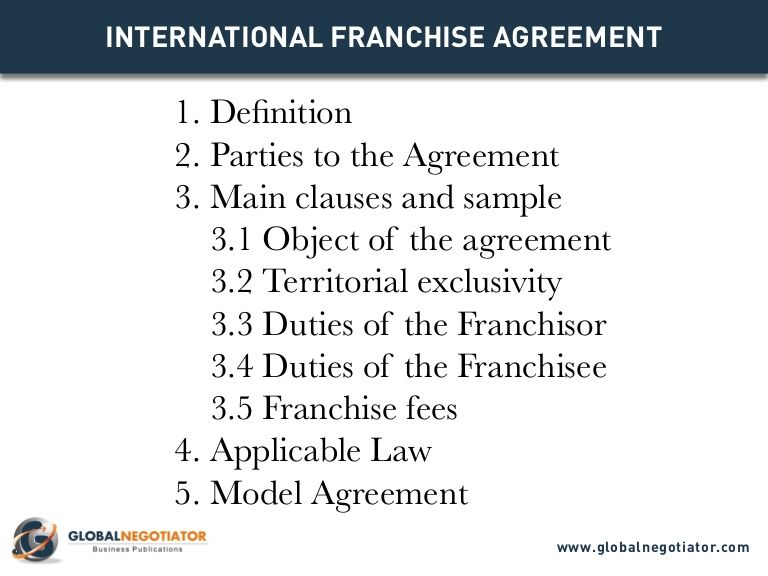 International Franchise Agreement Template By Global Negotiator