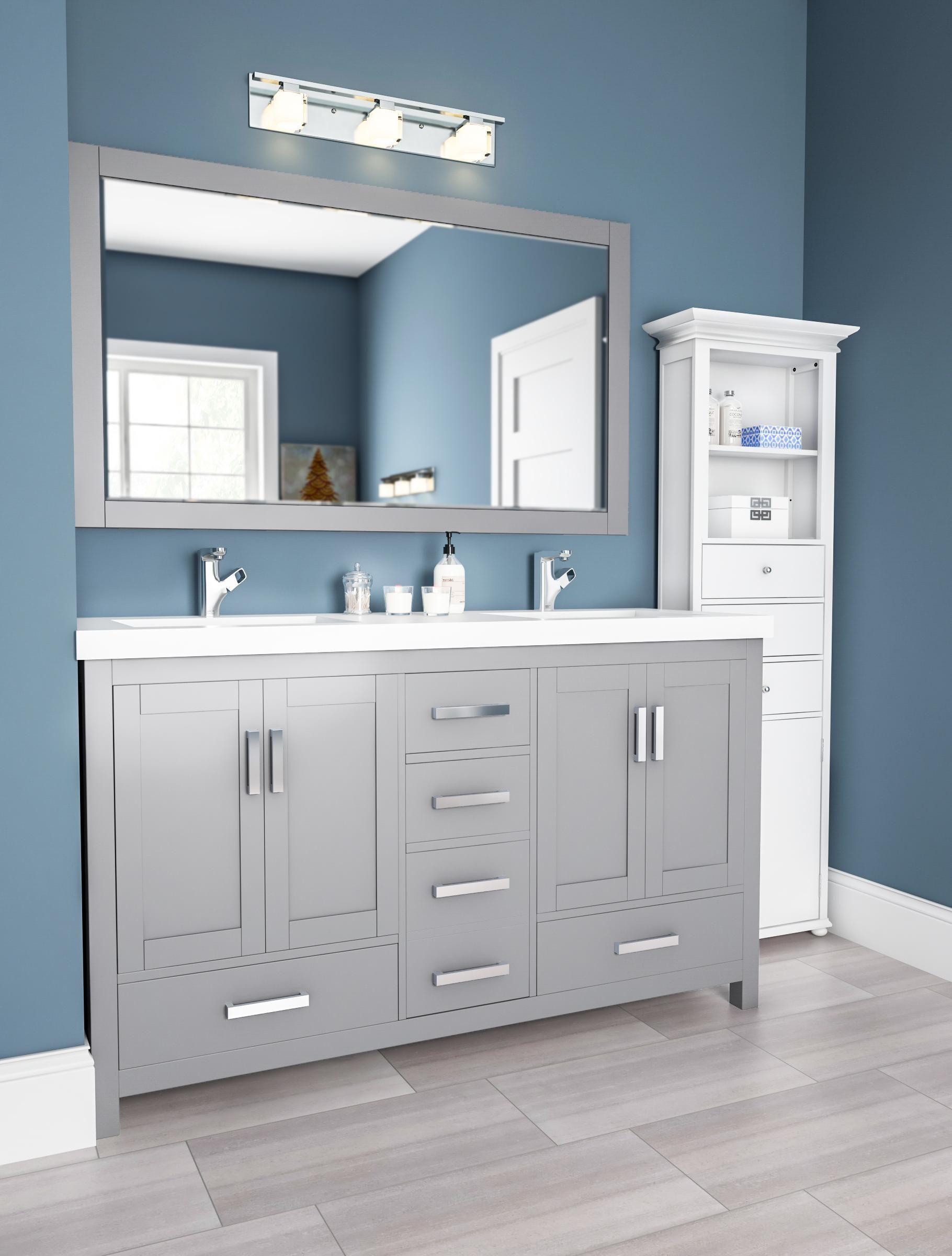 Sleek Gray And Blue Bathroom Vanity Area Bathroom Vanity Decor Yellow Bathroom Decor Farmhouse Bathroom Vanity