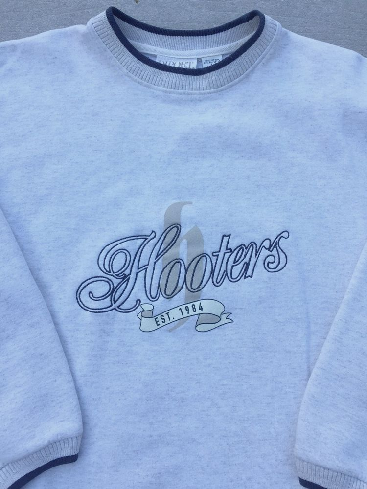 """Embroidered Hooters Sweat Shirt Mens size Large 44"""" Grey and Navy #diport #SweatshirtCrew"""