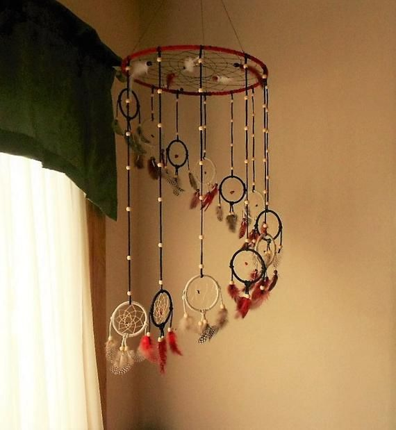 14 inch Dreamcatcher Mobile . Red, Black and White