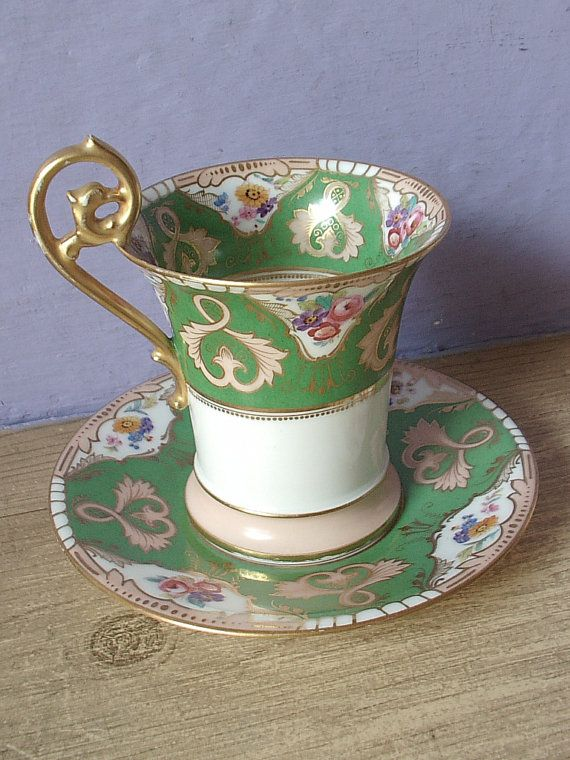 Good Antique TV Limoges France Chocolate Cup, Vintage French Porcelain Tea Cup  And Saucer Set, Good Looking