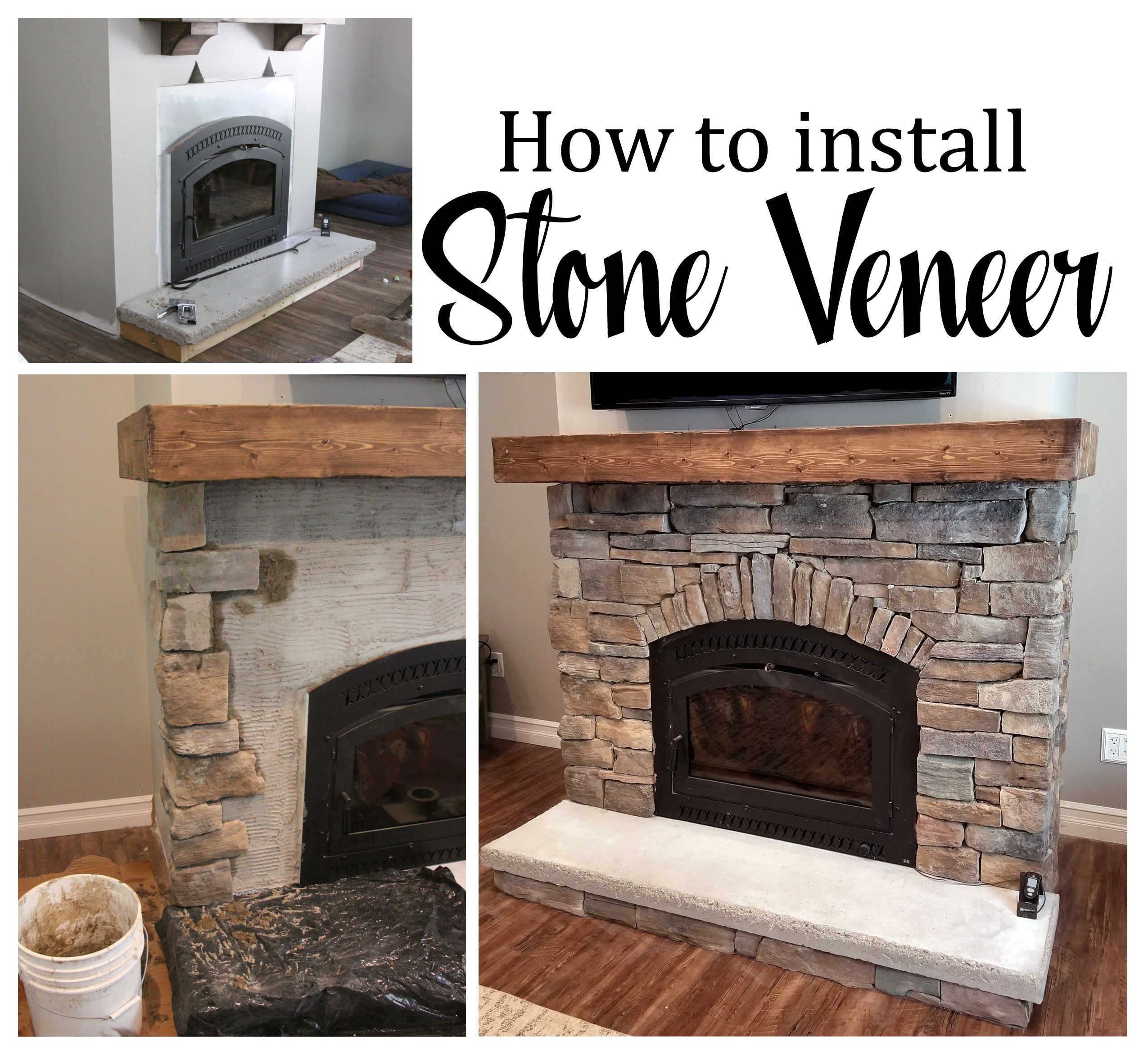 How To Install Cast Natural Stone Veneer Diy Stone Fireplace