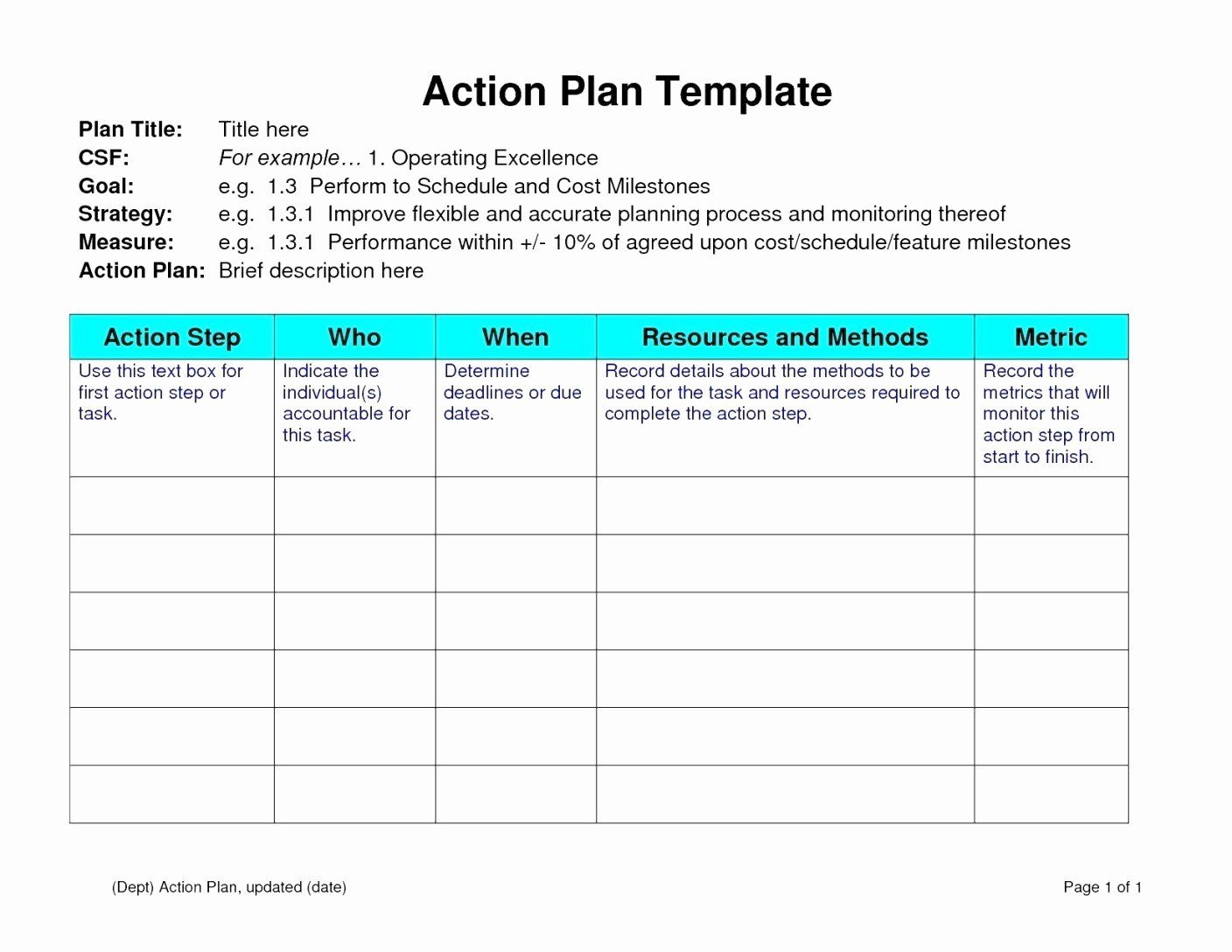 30 Action Plan Template For Students In 2020 Action Plan