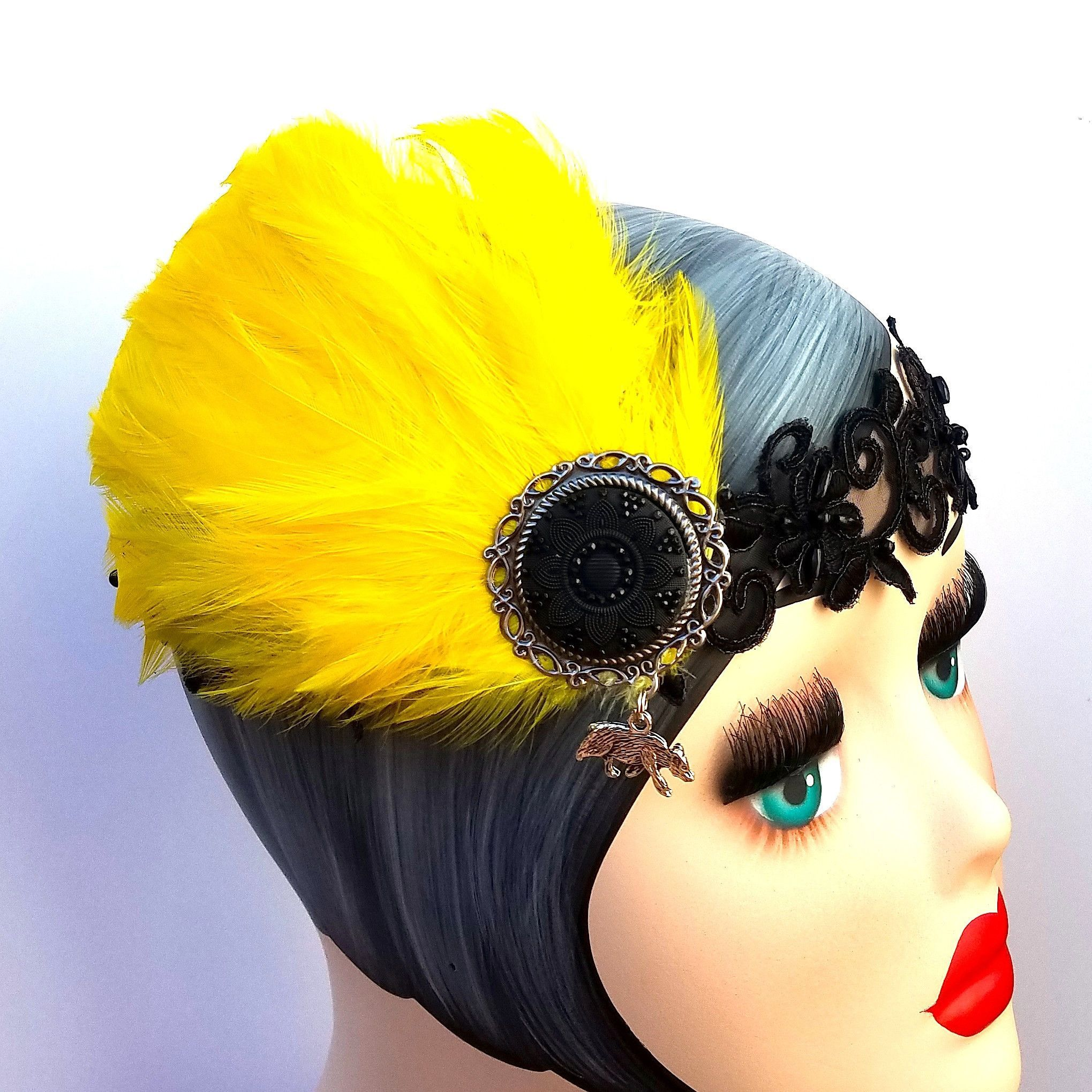 1920s Inspired Headpiece in Badger House Colors