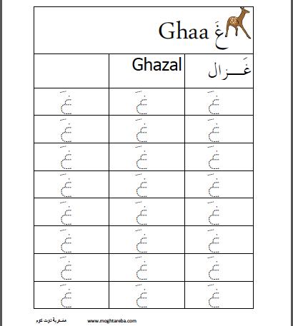 أوراق عمل اللغة العربية حرف الغين المفتوح مغتربة Teach Arabic Islam For Kids Teaching