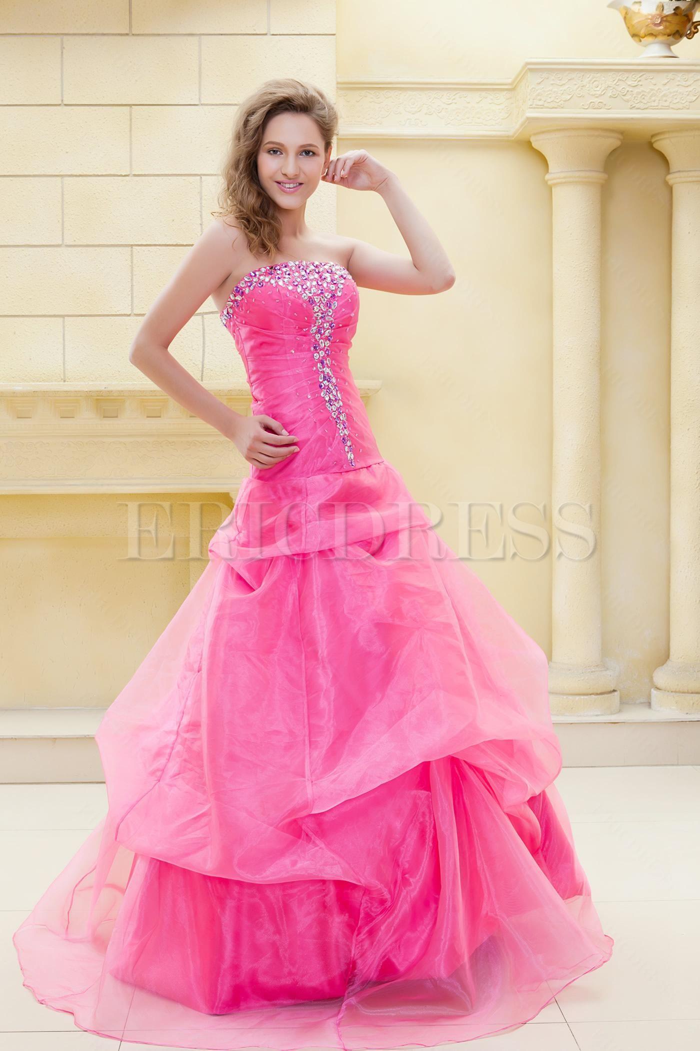 Floor length beading strapless elas eveningball gown dress cassie