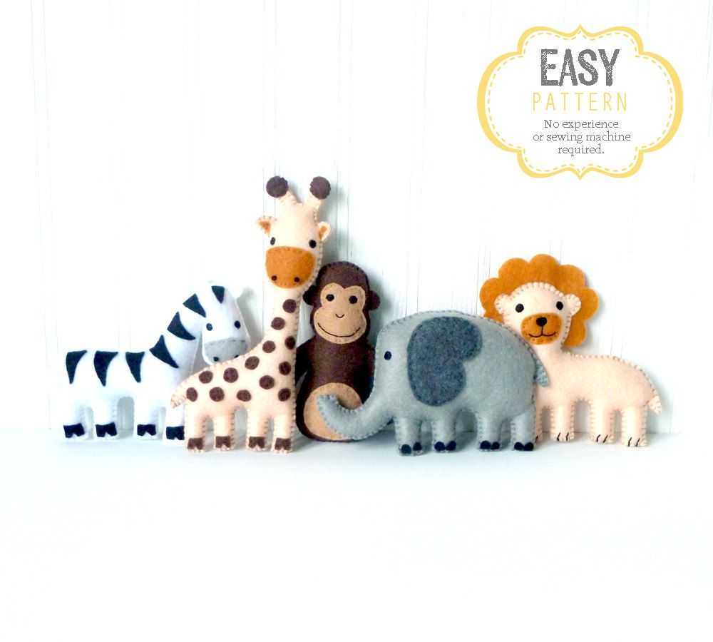 Jungle Animal Sewing Patterns, Zoo Animal Hand Sewing, Safari Animal ...