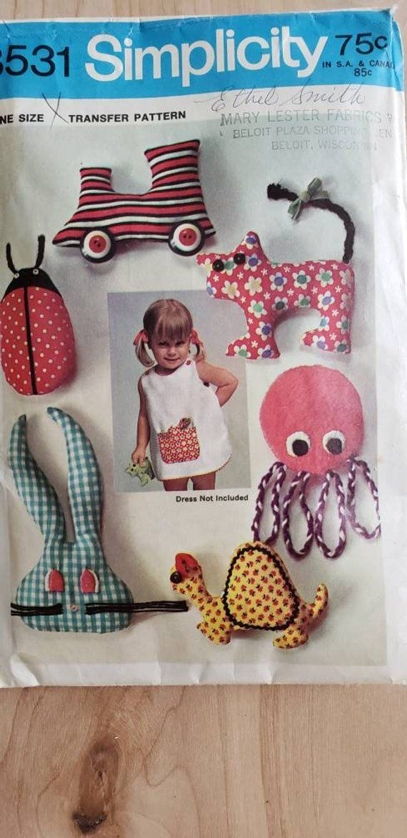 Animal Pillows Sewing Pattern  Pocket Pets Stuffed Toys Vintage Simplicity Pattern 8531  Labybug tra
