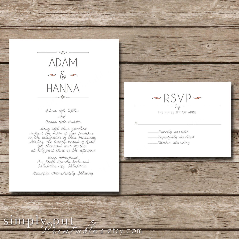 Simple Vintage Wedding Invitation Suite by SimplyPutPrintables ...