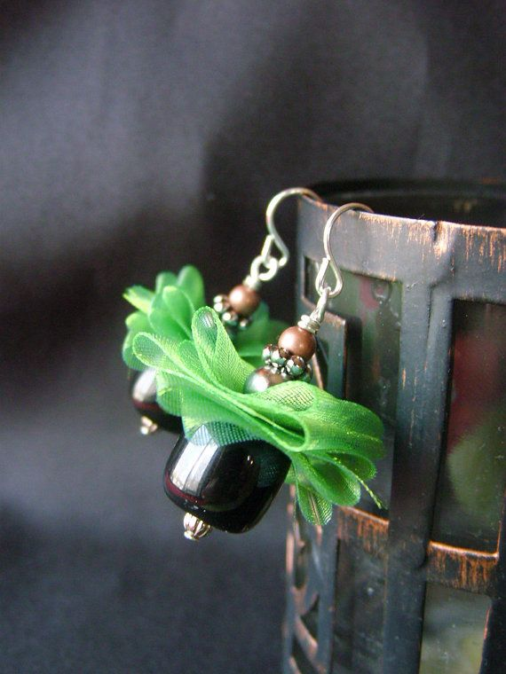 Green Sheer Ribbon and Black Beaded Dangle by avadeldesigns, $12.00