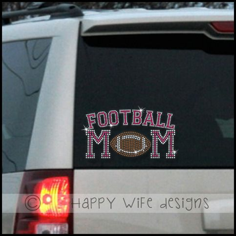 Football mom rhinestone car decal by happywifedesigns on etsy also available in basketball baseball cheer etc