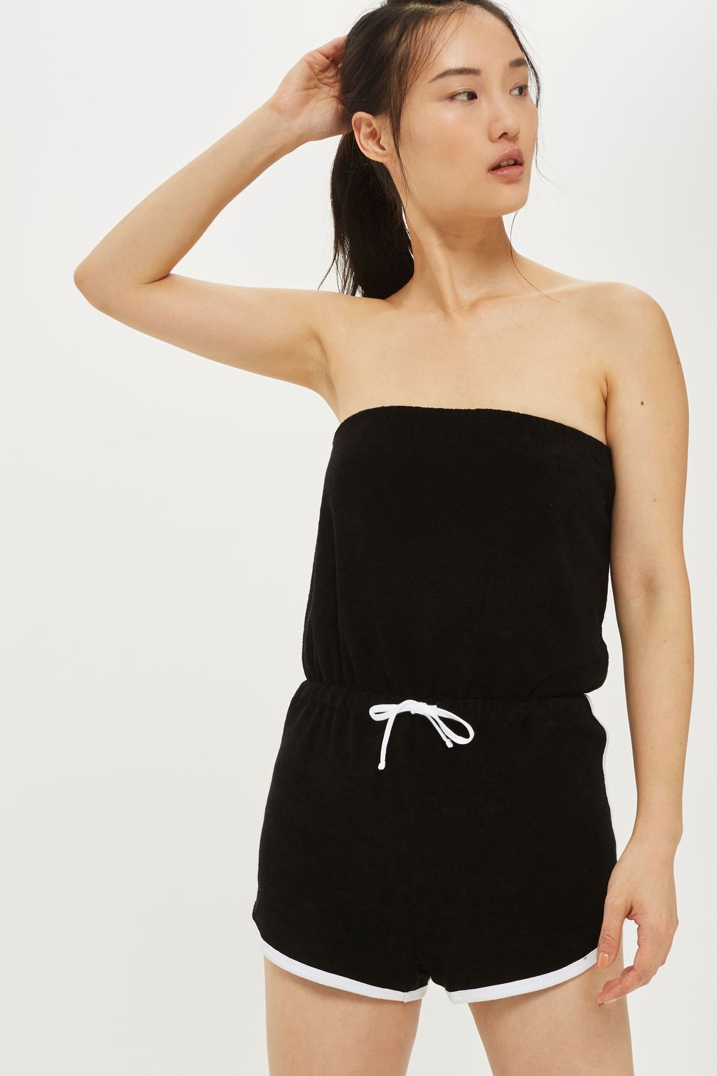 ae24bb2f670 TOPSHOP Towelling Bandeau Playsuit Opt for a comfy feel with this black  bandeau playsuit. Textured in a super-soft towelling material
