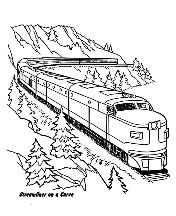 Streamliner Train On A Curve Coloring Page Color Luna Train Coloring Pages Coloring Pages Valentines Day Coloring Page