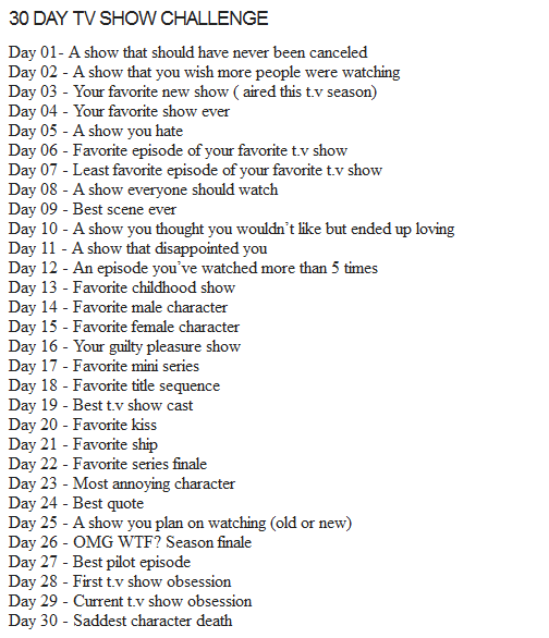30 Day TV Show Challenge