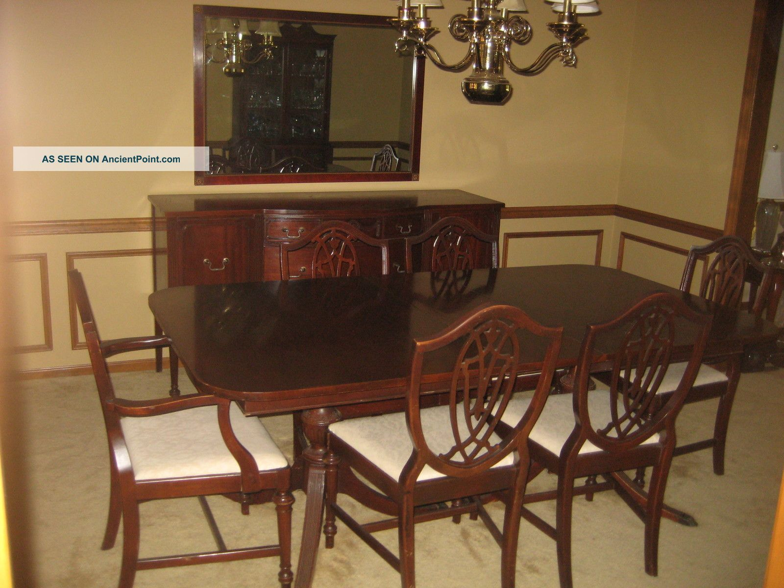 1930 S Duncan Phyfe 11 Piece Mahogany Dining Room Set Cherry