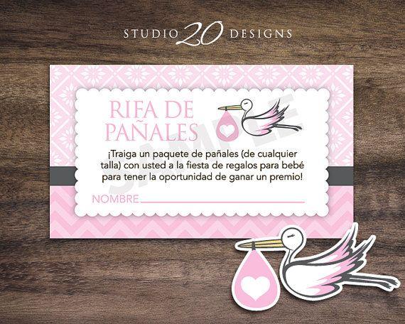 Invitaciones De Baby Shower Y Boletos Para La Rifa De Panales Set Of 25 Pin...