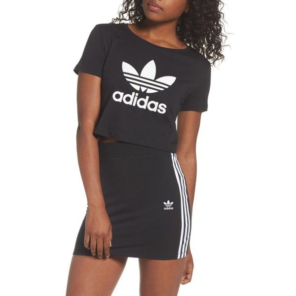 7a6ddc83ed Women's Adidas Originals Trefoil Crop Top ($35) ❤ liked on Polyvore ...