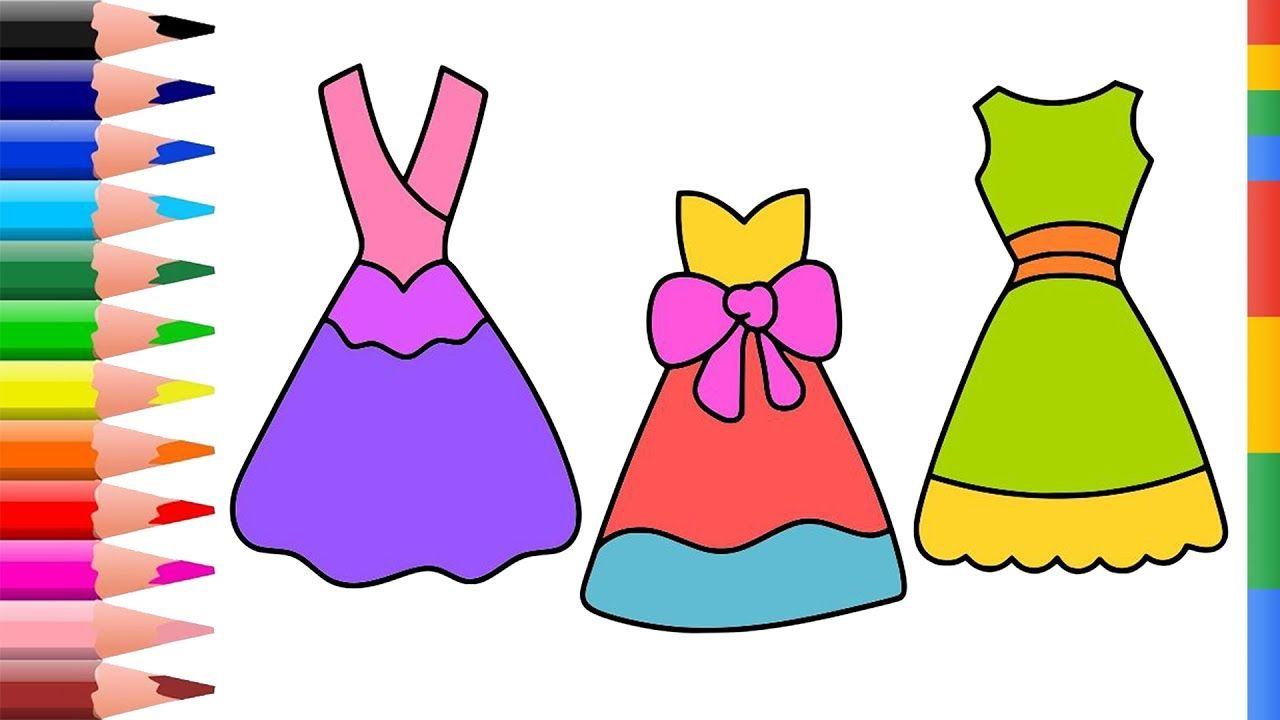 Dress Coloring Pages For Girl How To Draw Dress Clothes For Kids Le Coloring Pages For Girls Marker Drawing Coloring Pages