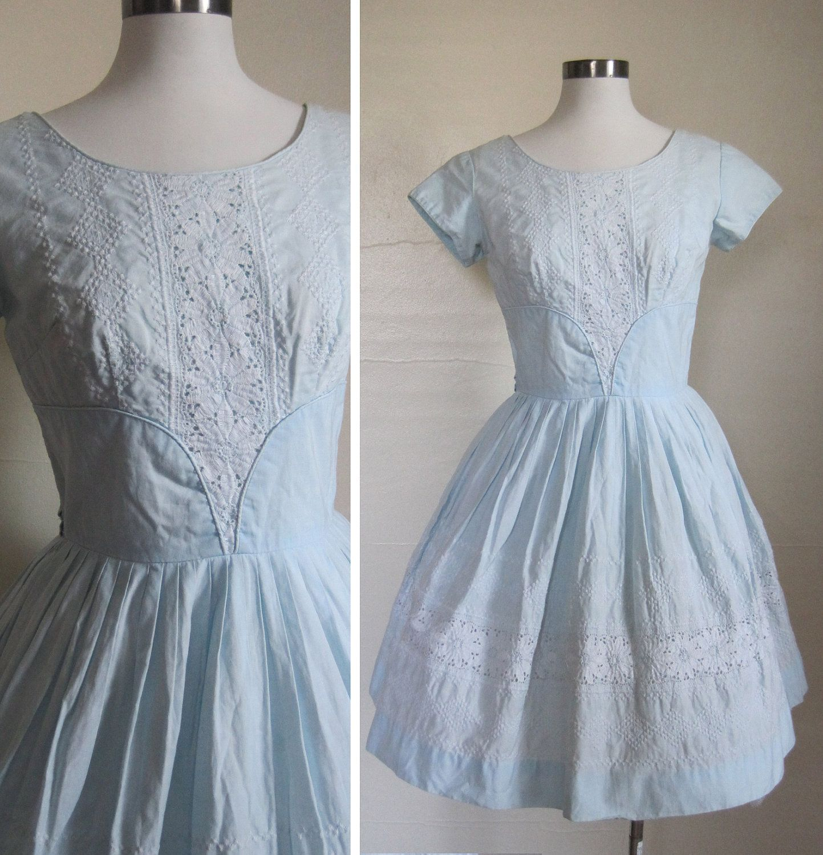 50s Dress Pale Blue Cotton Embroidered Dress. $58.00, via Etsy.   I ...