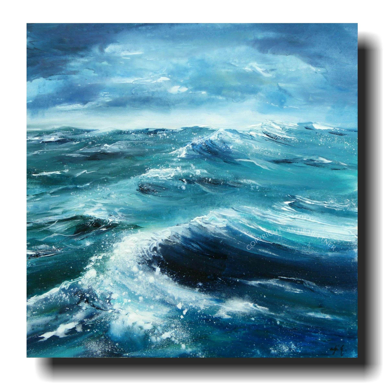 Sturmgefluester acrylic on canvas by antje hettner ocean sea and beach paintings in 2019 - Foto auf leinwand malen ...