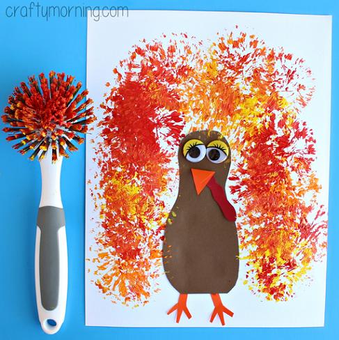 kids dish brush turkey party craft idea for thanksgiving