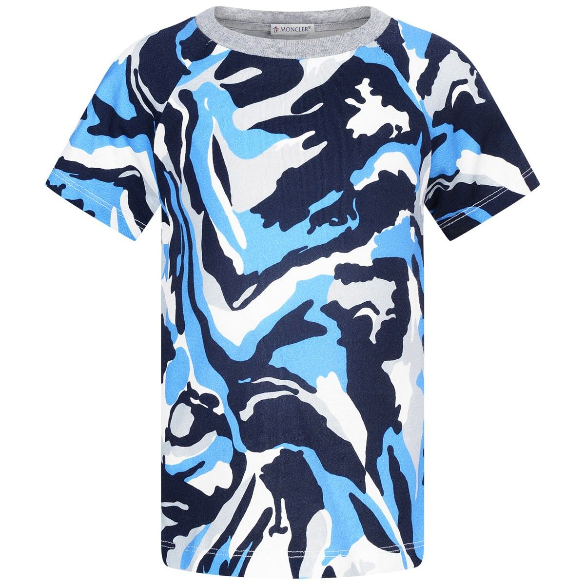 Moncler Baby Boys Blue Camouflage Print Top