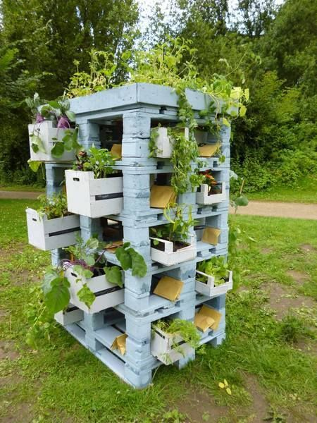 Pallets and crates as a planter tower #Planter