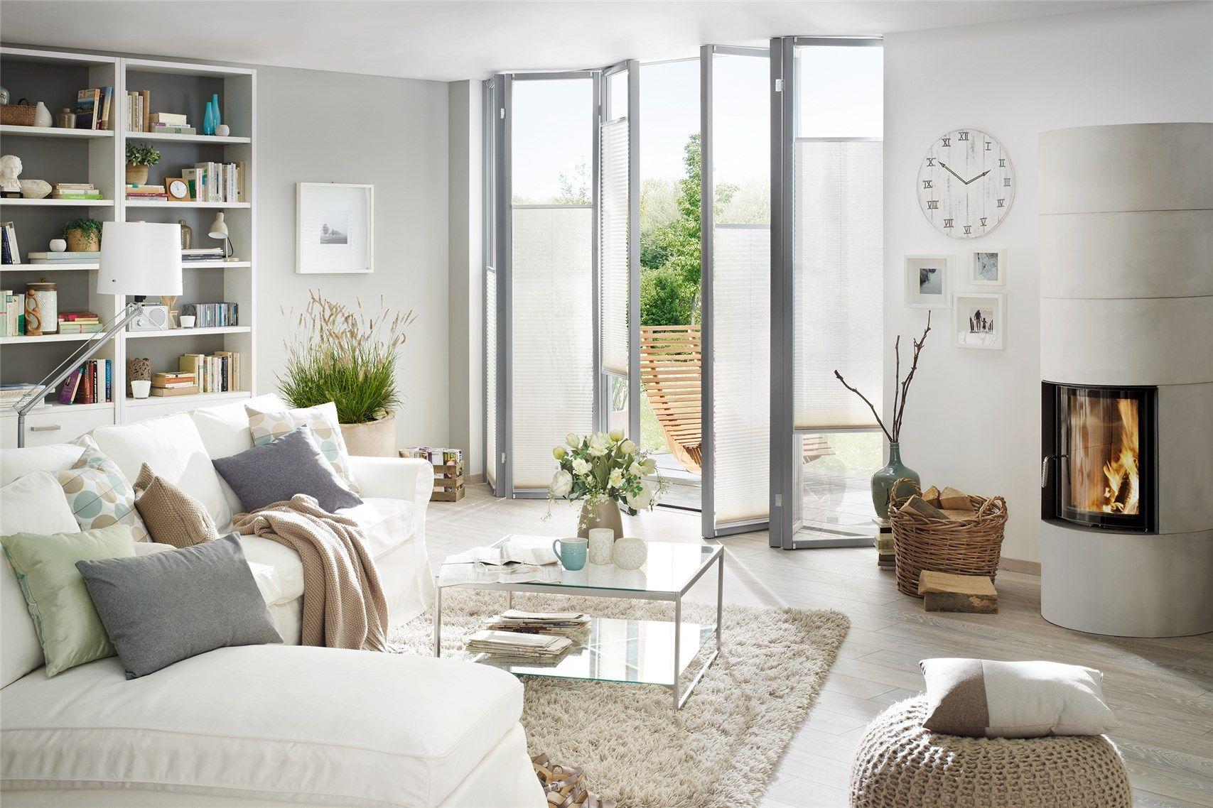 Plissee Wohnzimmer ~ Extra schmaler sonnenschutz für terassentüren smart plissees von