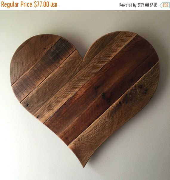 Rustic Reclaimed 27 Large Pallet Wood Heart Wall Hanging Garden