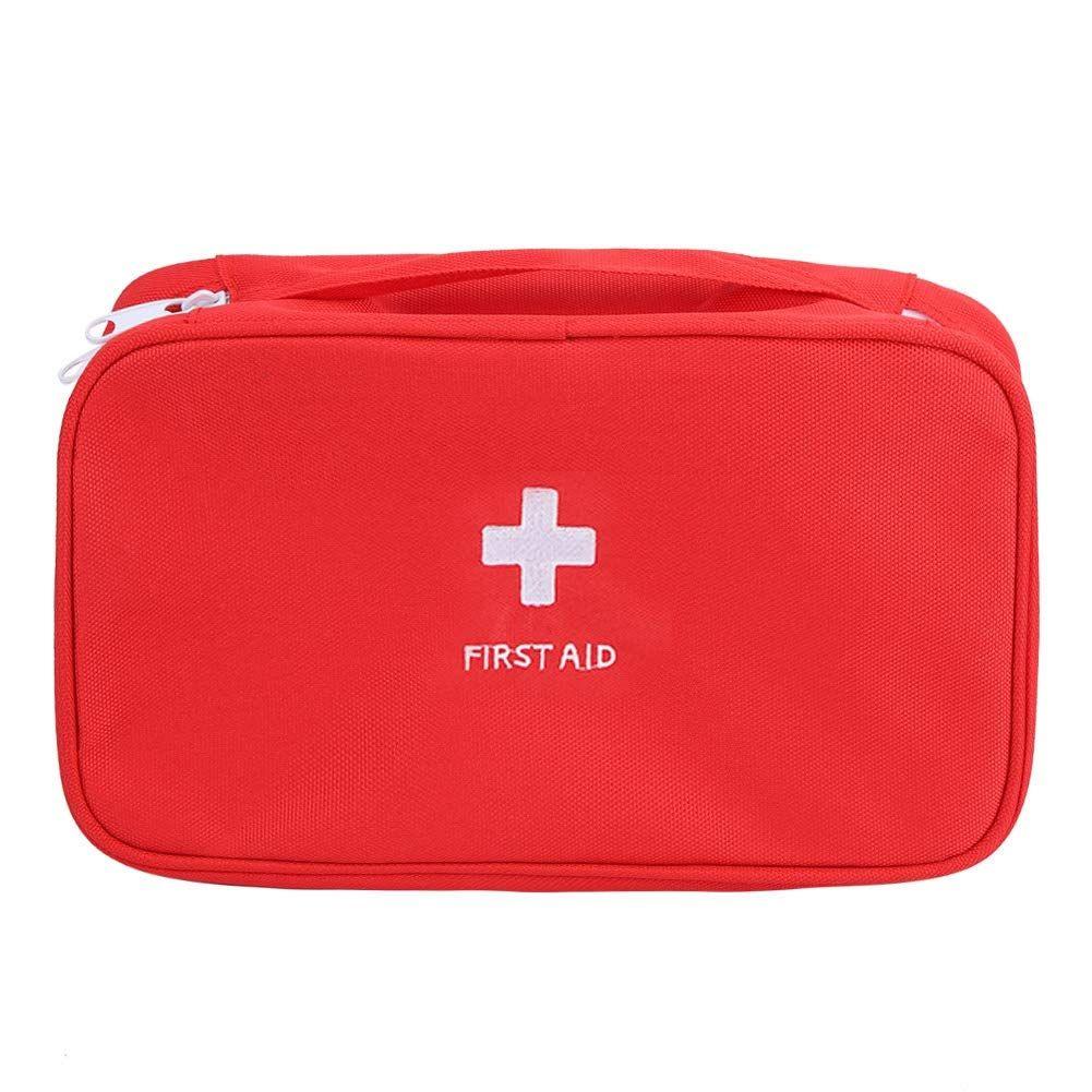 Qinlorgo First Aid Bag Medical Bag Storage Case Portable Pills Organizer Holder Red Medical Bag Bag Storage Shoulder Bag