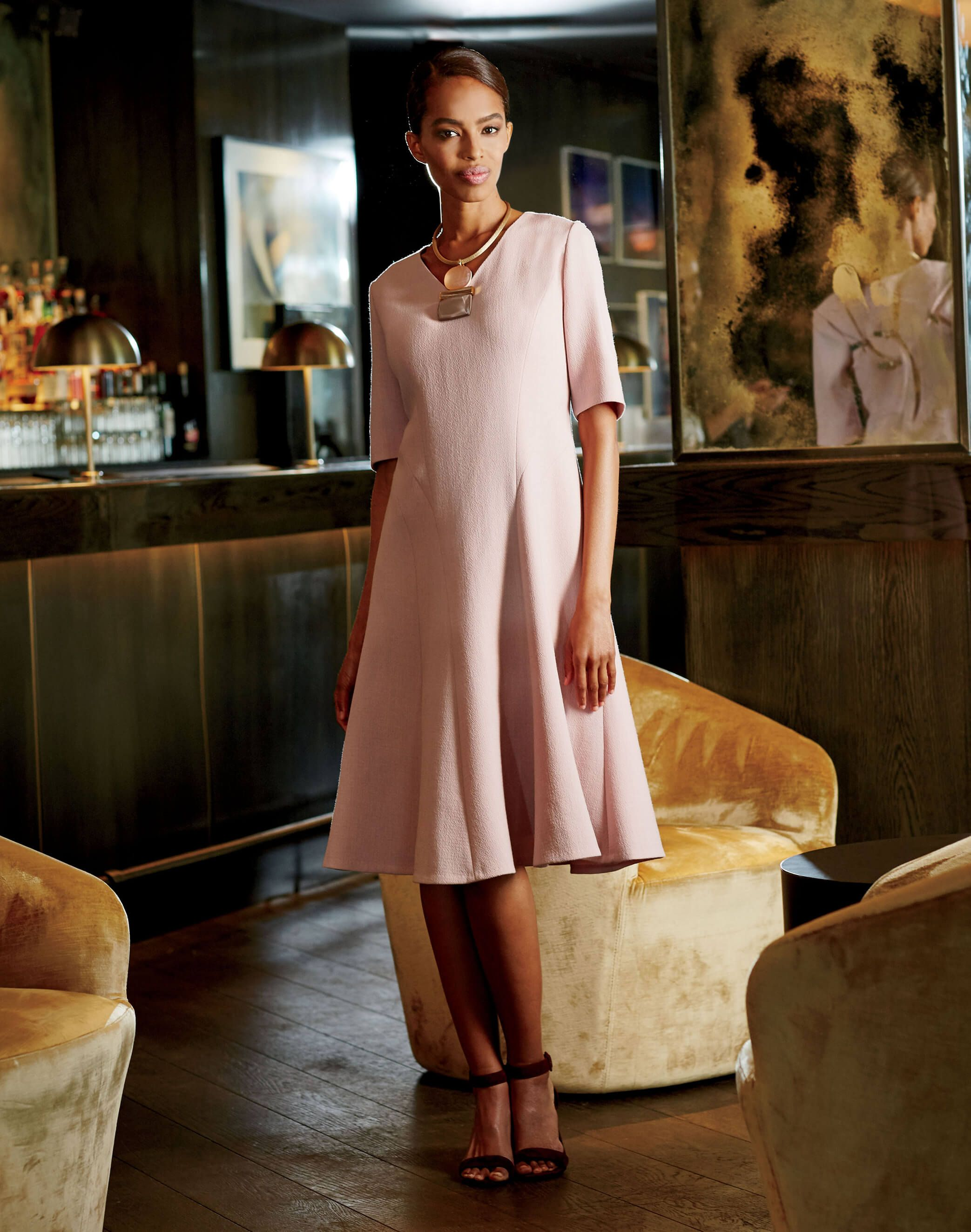 Mirasol Dress and Triple Drop Necklace - Outfits - New Arrivals | Lafayette 148 New York: