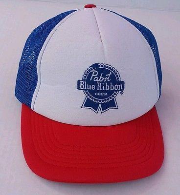 f228acf61e797e Vintage Pabst Blue Ribbon Trucker Hat Baseball Cap PBR!! Beer Hat Mesh