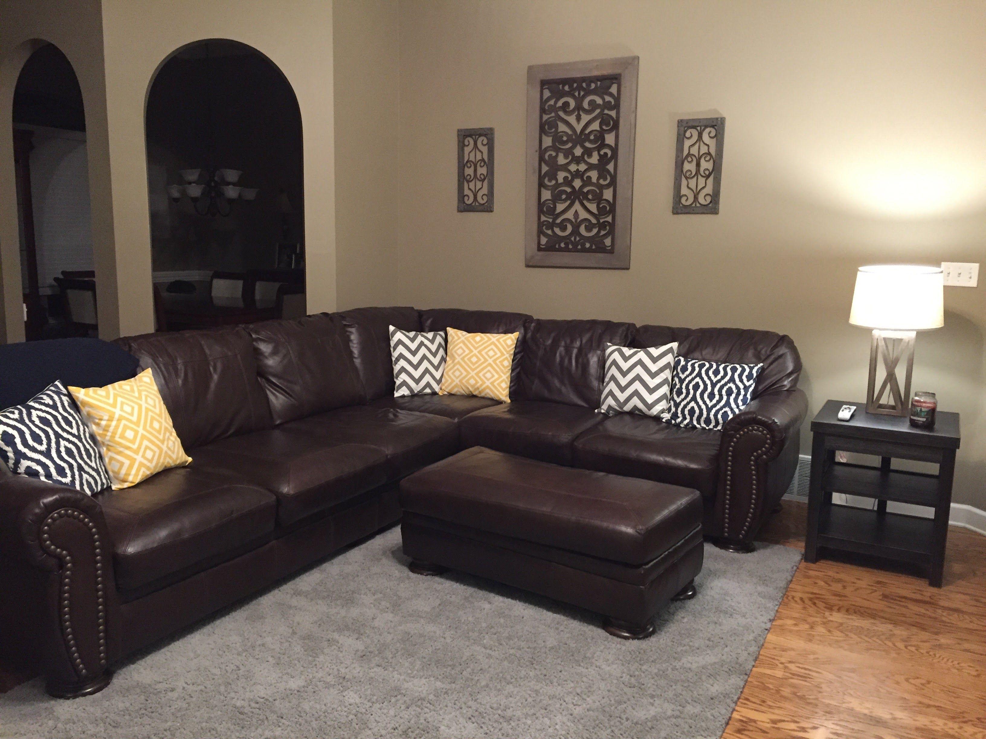 Best Wall Color Brown Sofa Grey Rug Black Living Room Decor 640 x 480