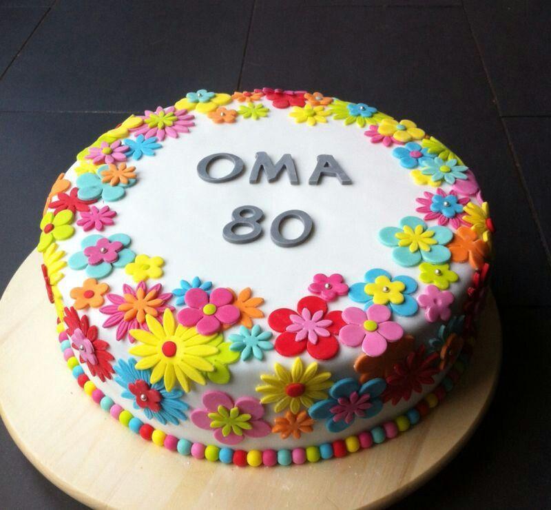 Betere Vrolijke bloemen taart met vrolijke kleurtjes | Marsepein taart BA-36