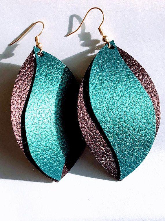 Photo of Items similar to Swirl Oblong Earrings, leather, faux leather, gift, earrings, peacock, dangle earring, drop earring on Etsy