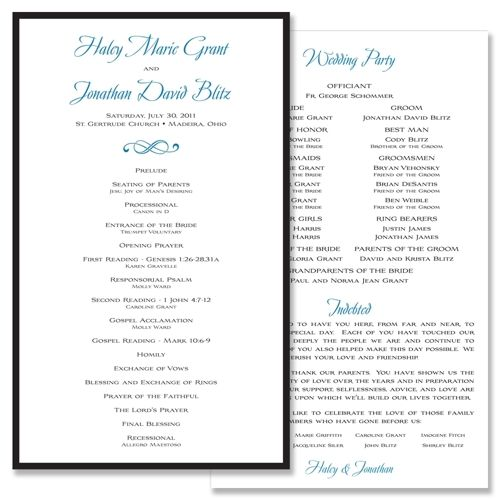 Classic Traditional - Unique Wedding Program by The Green Kangaroo - wedding agenda sample