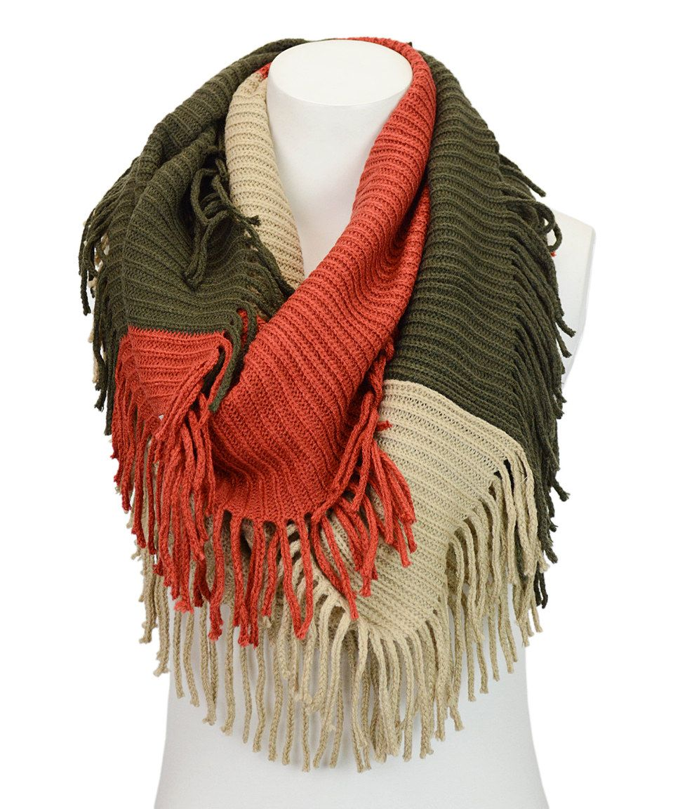 Another great find on #zulily! Olive Ribbed Fringe Infinity Scarf by ...