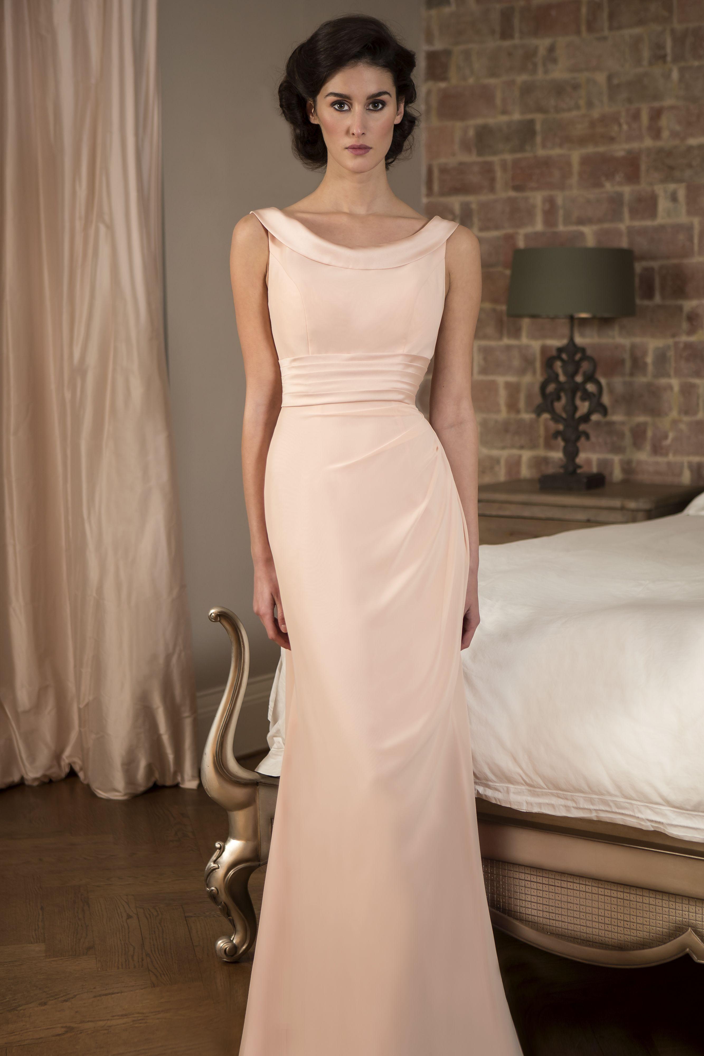 True Bridesmaid M582 Slim Chiffon Dress With Boat Neckline Satin Collar Pleated Waistband And Flattering Pleats To Hip