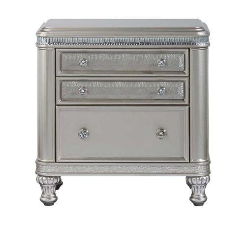 Best Hefner Silver Side Chair Silver Nightstand Silver 400 x 300