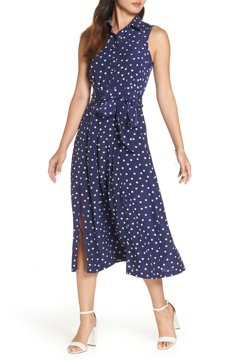 ad45ba950fa Free shipping and returns on 1901 Polka Dot Midi Shirtdress (Regular    Petite) at Nordstrom.com.  p When the forecast calls for sun