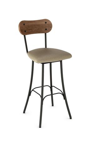 Bean Swivel Stool With Seat Cushion And Distressed Wood Back Metal Counter Stools Metal Bar Stools Wood Counter Stools