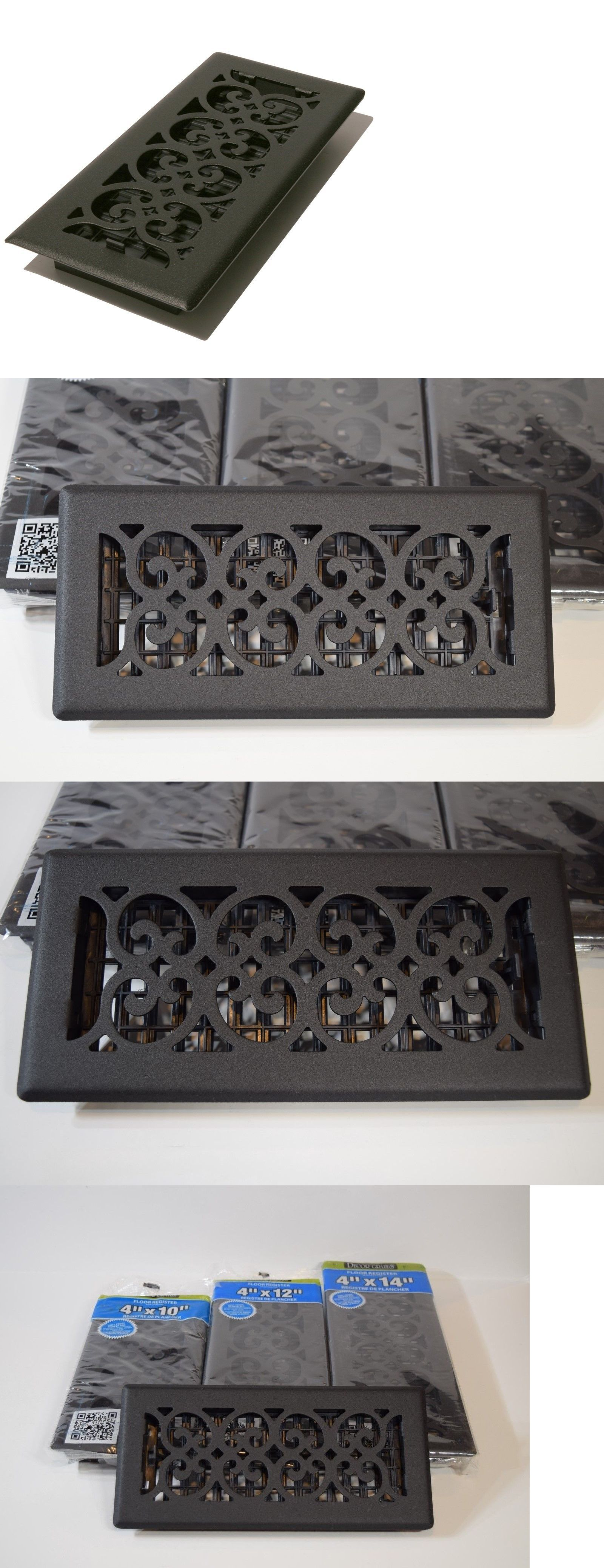 Decor Grates Steel Floor Register Air Vent Scroll Textured Black 4 X 10 X12 X14 Floor Registers Black Steel Steel