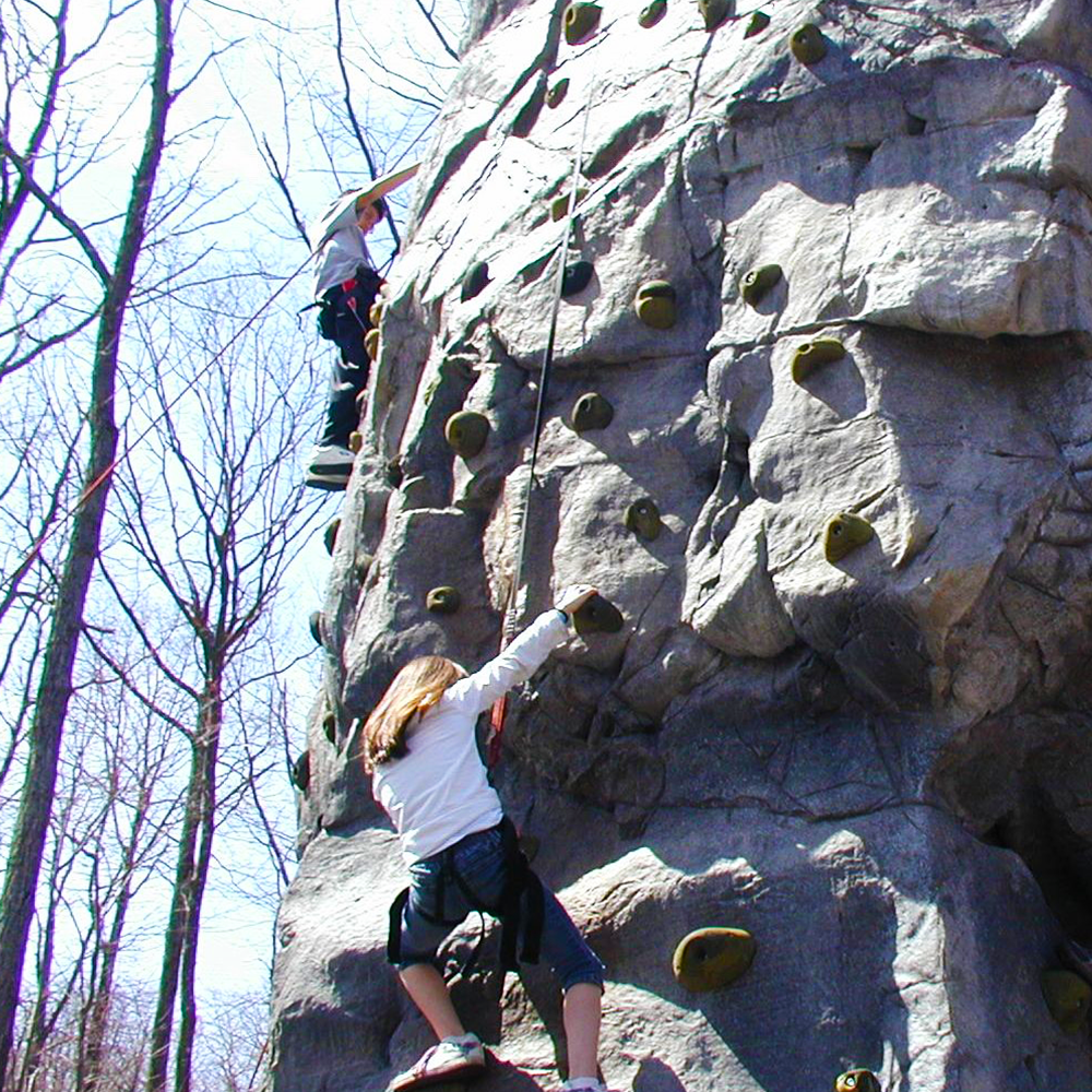 Meet the challenge of the 38foot rock climbing wall at