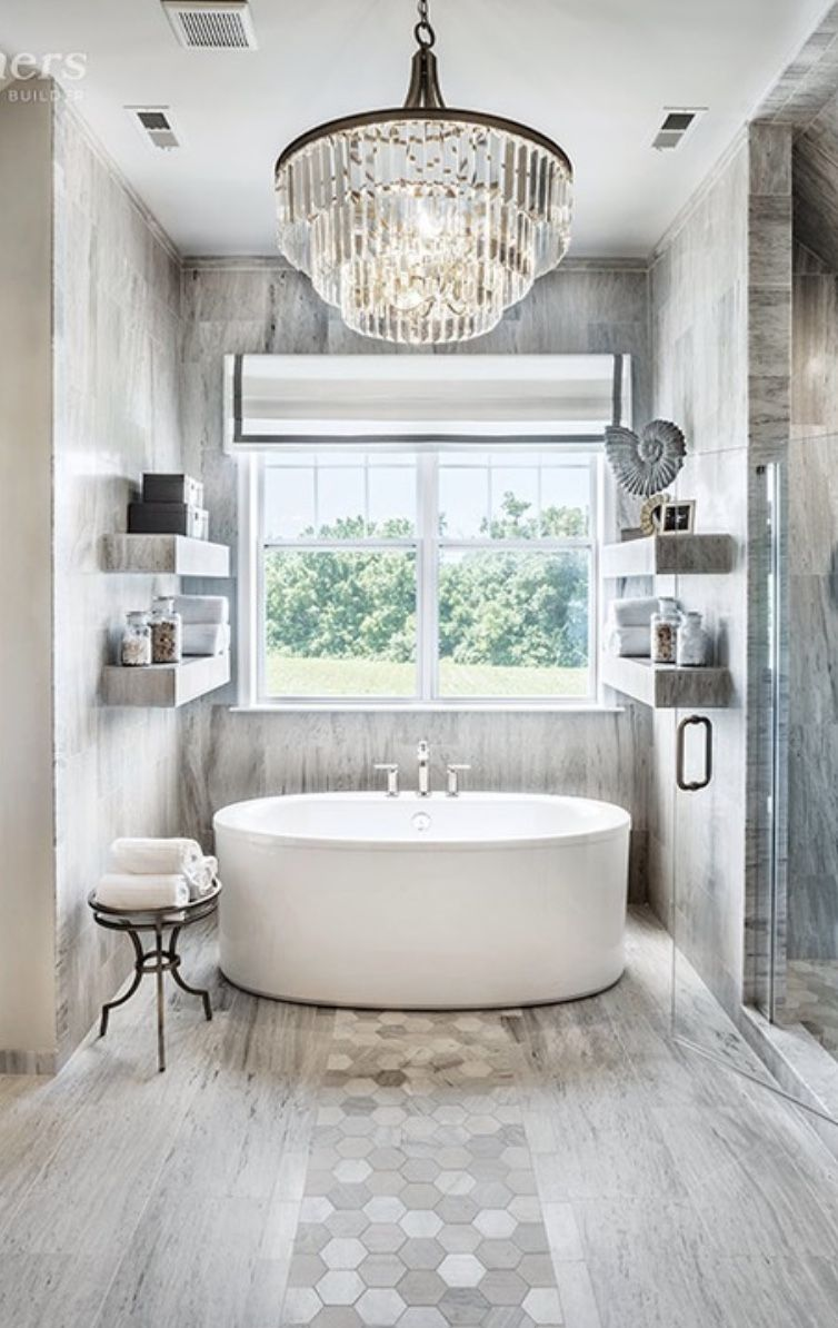 Photo of Luxe Chandelier in Neutral Gray Master Bath with Large Free Standing Bath Tub