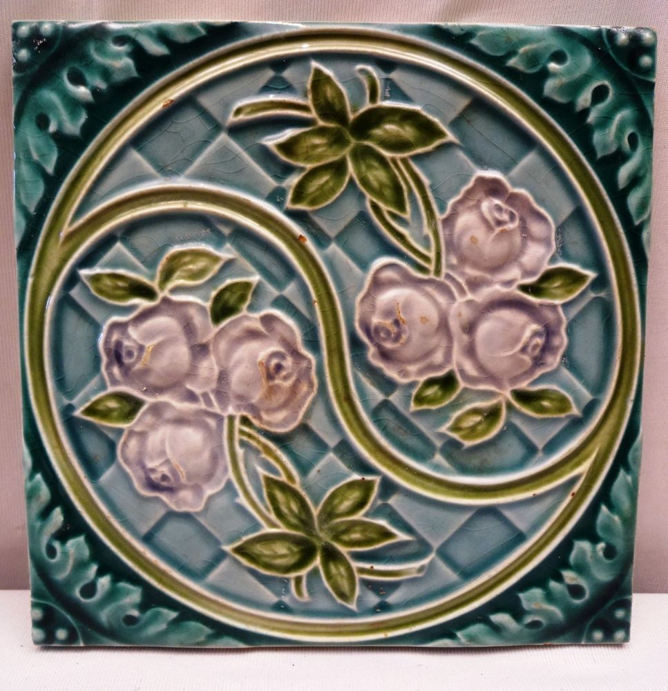 Antique tiles art nouveau majolica ceramic rose flower design made antique tiles art nouveau majolica ceramic rose flower design made in england dailygadgetfo Choice Image