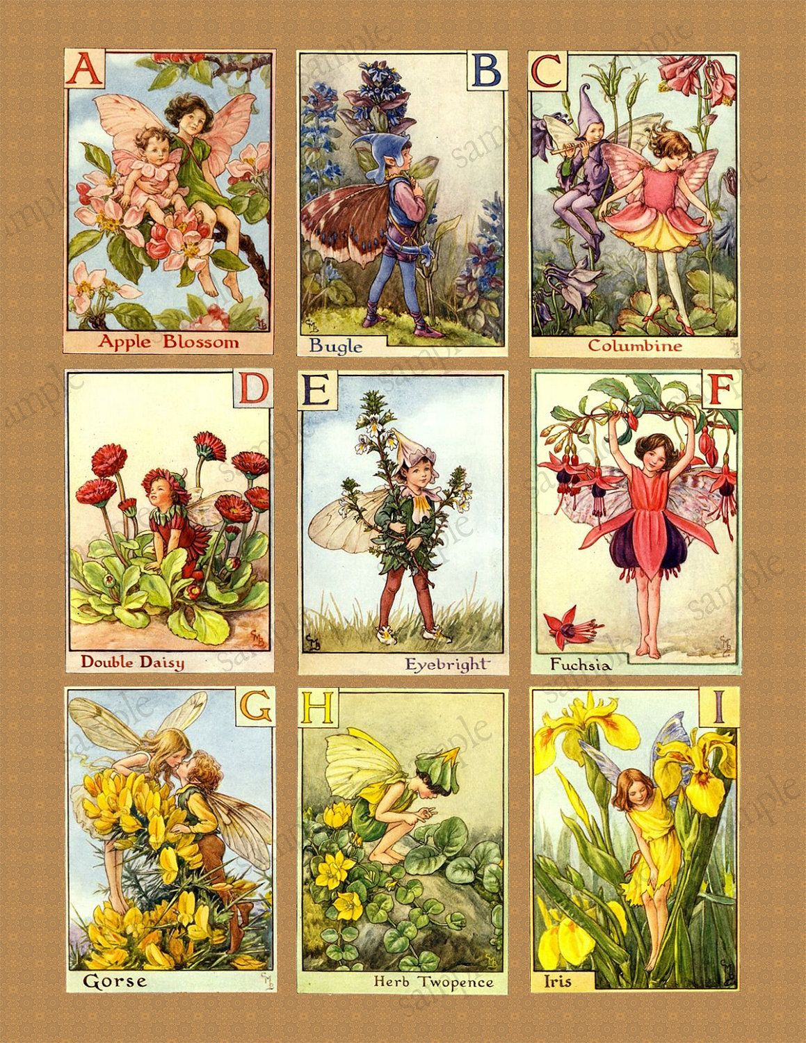 Alphabet Fairies Digital Collage Sheets - VINTAGE images (Large) 2 and 1/2 Sheets. $5.50, via Etsy.