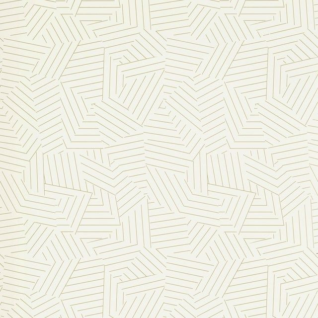 Schumacher Deconstructed Stripe Wallpaper in Greige