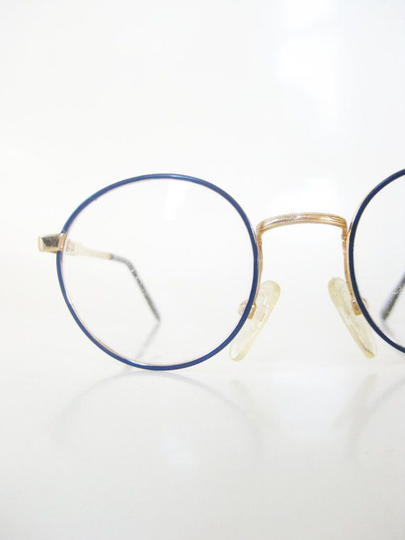 75651752347d Vintage Kids Round Eyeglasses Blue Navy Wire Rim 1980s 80s Childrens Girls  Boys Eighties Gold Metallic Shiny Eighties Indie Deadstock