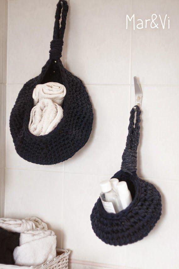Patrón cesta de trapillo para colgar | TRAPILLO | Pinterest | Crochet